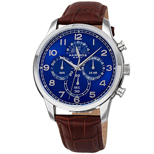- Akribos XXIV Men's AK1004 Quartz Chronograph Leather Strap Watch (Silver-Tone/Blue & Brown)