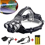 Yiemoneer 80000LM 6 Modes Cree 5x XM-L T6 LED Rechargeable 18650 Headlamp Head Light Torch