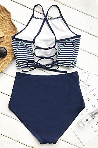 ec4281860e Cupshe Fashion Women's Printing Criss Cross Tie Back High Waisted Bikini  Set Beach Swimwear Bathing Suit - Bikini Online Shop