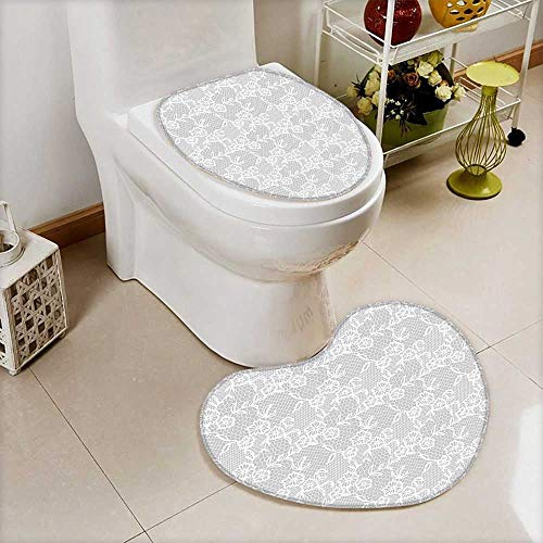 2 Piece Toilet lid Cover Toilet mat Islamic Art Inspired Oriental Turkish Lace Pattern Traditional Impression Image White High Density Space Memory Cotton by L-QN