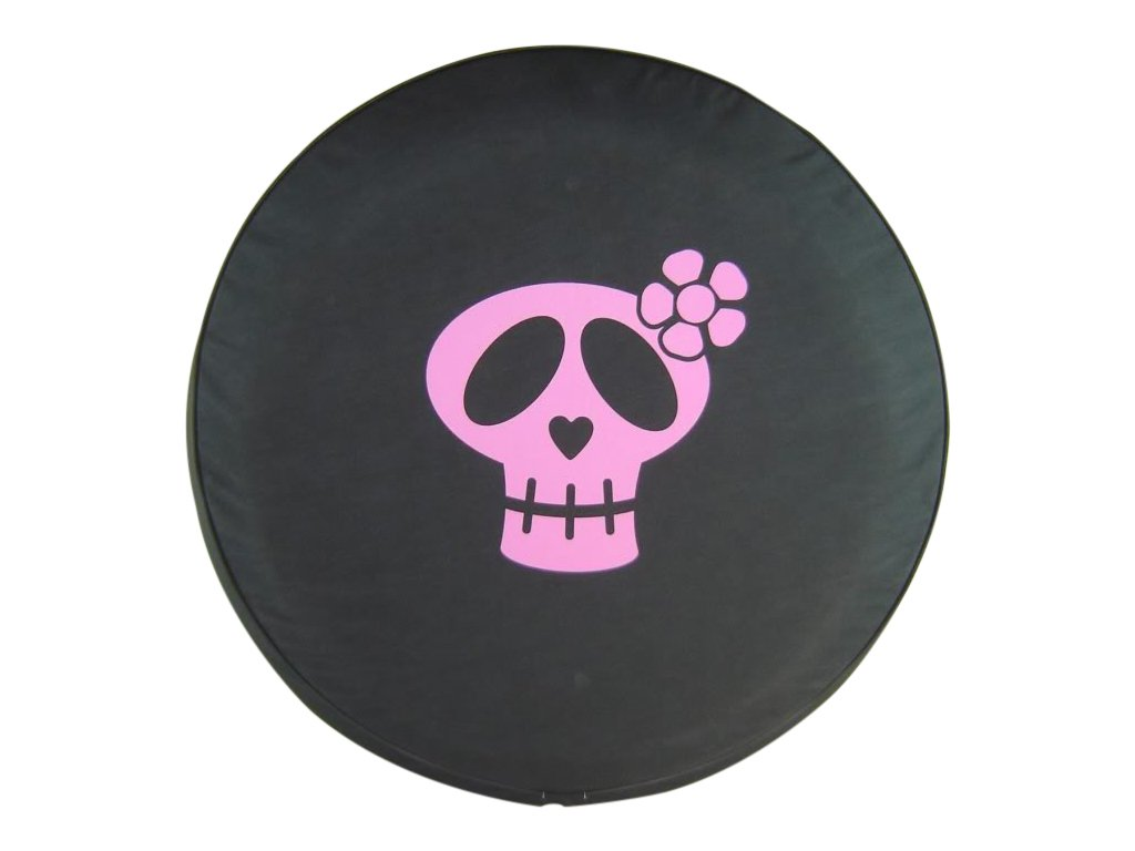 SpareCover BR-gSkull-32-pink Brawny Series Black Denim 32 Tire Cover with Girly Skull Pink Design