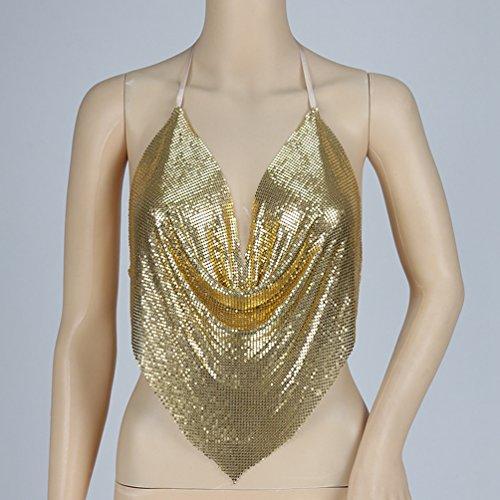 Oro Blouse Gilet Shirt Top Tank Senza Donna T Cime Paillettes Yiiquan Maniche xYqwRP57H
