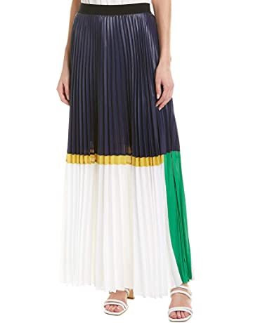 0797a65a9843b8 BCBGMAXAZRIA Women's Colorblocked Pleated Chintz Maxi Skirt