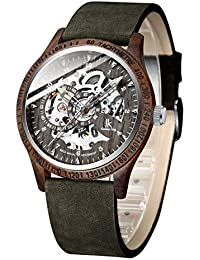 Men Watches, Wood Case Casual Automatic Mechanical Skeleton Wrist-Watch Genuine Leather Bracelet