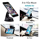 Encust EN-UNI-3MNT Universal 3-in-1 Dashboard/Windshield/Air Vent Magnetic Car Mount Phone Holder for iPhone 7/SE/6/Plus/5s/5c/5 - Samsung Galaxy Edge/S7/S6 - HTC/Nexus 6 and Other Cell Phone
