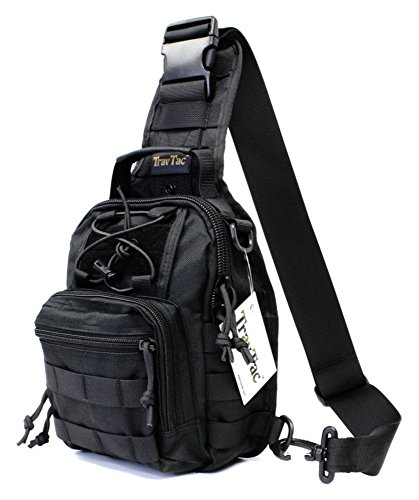 TravTac Stage I Premium Small EDC Tactical Sling Pack 900D (Black 2.1)