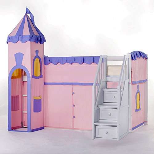 NE Kids School House White Junior Princess Loft with Stairs
