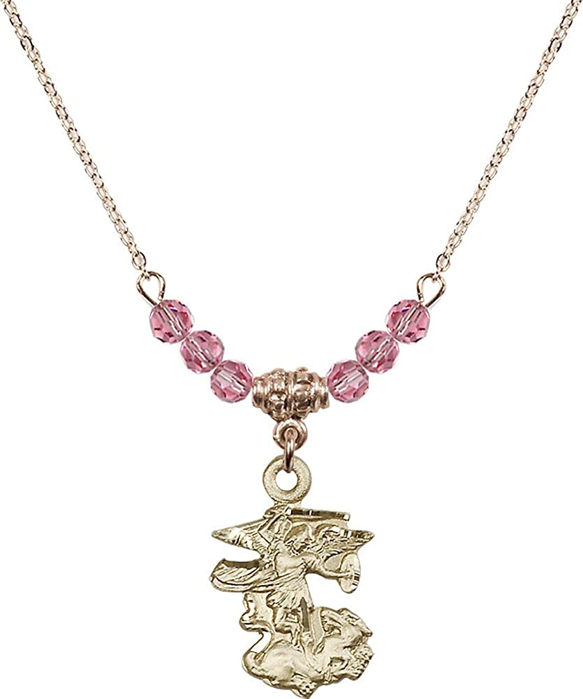 18-Inch Hamilton Gold Plated Necklace with 4mm Rose Birthstone Beads and Gold Filled Saint Michael the Archangel Charm.