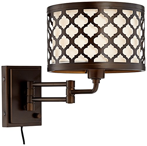 Bronze Double Arm Sconce - Rissani Oil Rubbed Bronze Double Shade Swing Arm Wall Lamp
