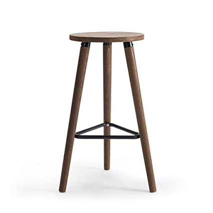 Enjoyable Amazon Com Zhen Guo Industrial Wooden Round Bar Stool With Gmtry Best Dining Table And Chair Ideas Images Gmtryco