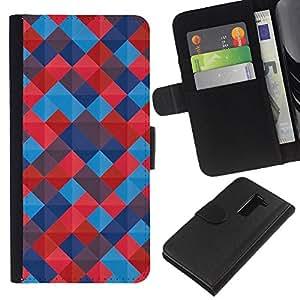 KingStore / Leather Etui en cuir / LG G2 D800 / Azulejos patrón acolchado Azulado rojas