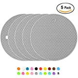 Silicone Pot Holders Coasters Thick Nonslip Trivets Heat Insulated Pads, Cup & Pans Mat, Jar Opener, Multipurpose for Kitchen & Home, Pack of 5, Light-Grey