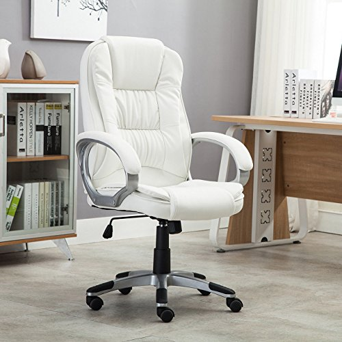 White Faux Leather Modern Executive Computer Conference Desk Office Task Chair (Antique Desk Executive)