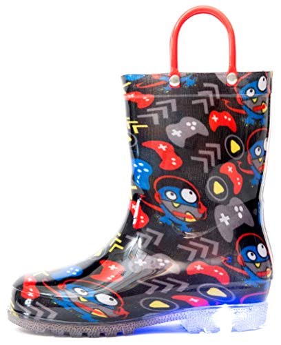 Outee Little Kids Toddler Boys Light Up Rain Boots Printed Waterproof Shoes Lightweight Cute Black Games with Easy-On Handles and Insole (Size 11,Black)]()