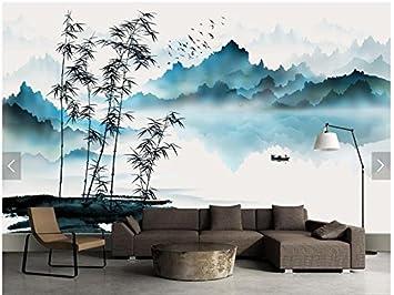 Malilove Benutzerdefinierte Chinesische Malerei Tapeten, Berg Und Wasser  Boot Bambus, Tuschemalerei Für Wohnzimmer Fernseher
