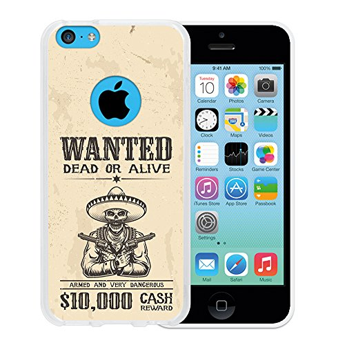 WoowCase Hülle Case für { iPhone 5C } Handy Cover Schutzhülle Schädel Poster Wanted Dead Or Alive