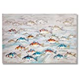 "In Liu Of | Modern Oil Painting on Canvas ""School in Session"" (Colorful Fish) Contemporary Wall Art Depicting Nature in Motion 