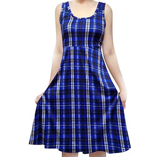 (SMT Women's Sleeveless Flowy Midi Summer Beach A Line Tank Dress Plaid Blue (Black) Small)