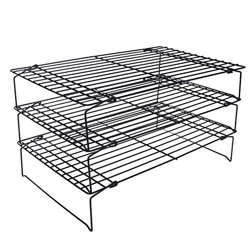Whitelotous 3 Layers Folding Wire Cake Cooling Racks Cookie Bakery Oven Safe Metal Shelf Food Baking Tool, Single Layer(LXWXH)16 inchX10 inchX2 inch