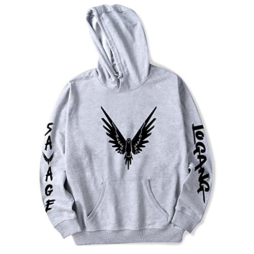 Unisex Street Fashion Hoodie Savage Pullover Maverick Cool Sweatshirt Grey XL from SIMYJOY ENJOY THE SIMPLICITY