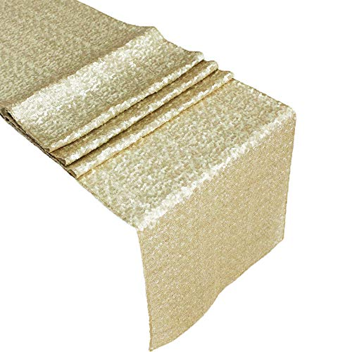 ACRABROS Sequin Table Runners Champagne Gold- 12 X 108 Inch Glitter Champagne Gold Table Runner-Champagne Gold Party Supplies Fabric Decorations for Wedding Birthday Baby Shower