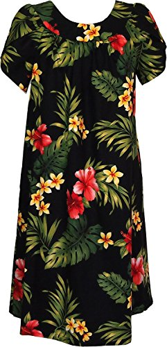 RJC Women's Tropical Summer Hibiscus Tea Length Hawaiian Muumuu House Dress Black 3X