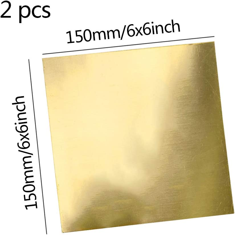 LOKIH Brass Sheet Percision Metals Brass Sheet Metal Rack 150mmx150mm//6x6inch,Thick:0.8mm//0.03inch,2 pcs