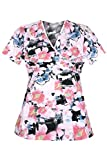 G Med Women's New Design Printed Mock Wrap Back Tie 2 Pockets Scrub Top(TOP-MED,LPK-M)