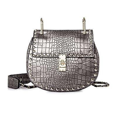 Women Handbag,Women Bag, KINGH PU Leather Shoulder Bag Fashion Rivet Design Cute Handbag 258 Gray