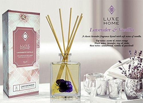 Luxe Home Lavender & Vanilla Scented Reed Diffuser Oil w/Sticks for Large Rooms | Real Flowers Inside The Bottle | Makes a Beautiful Idea