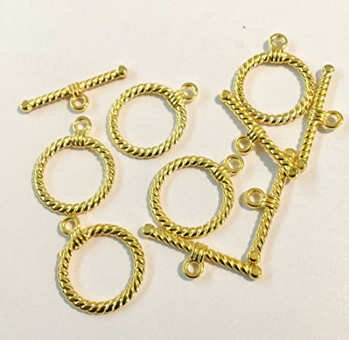 Twisted Toggle Copper - 5 Sets, Lead, Cadmium, Nickel Free, Gold Tibetan Style Twisted Rope Toggle Clasps