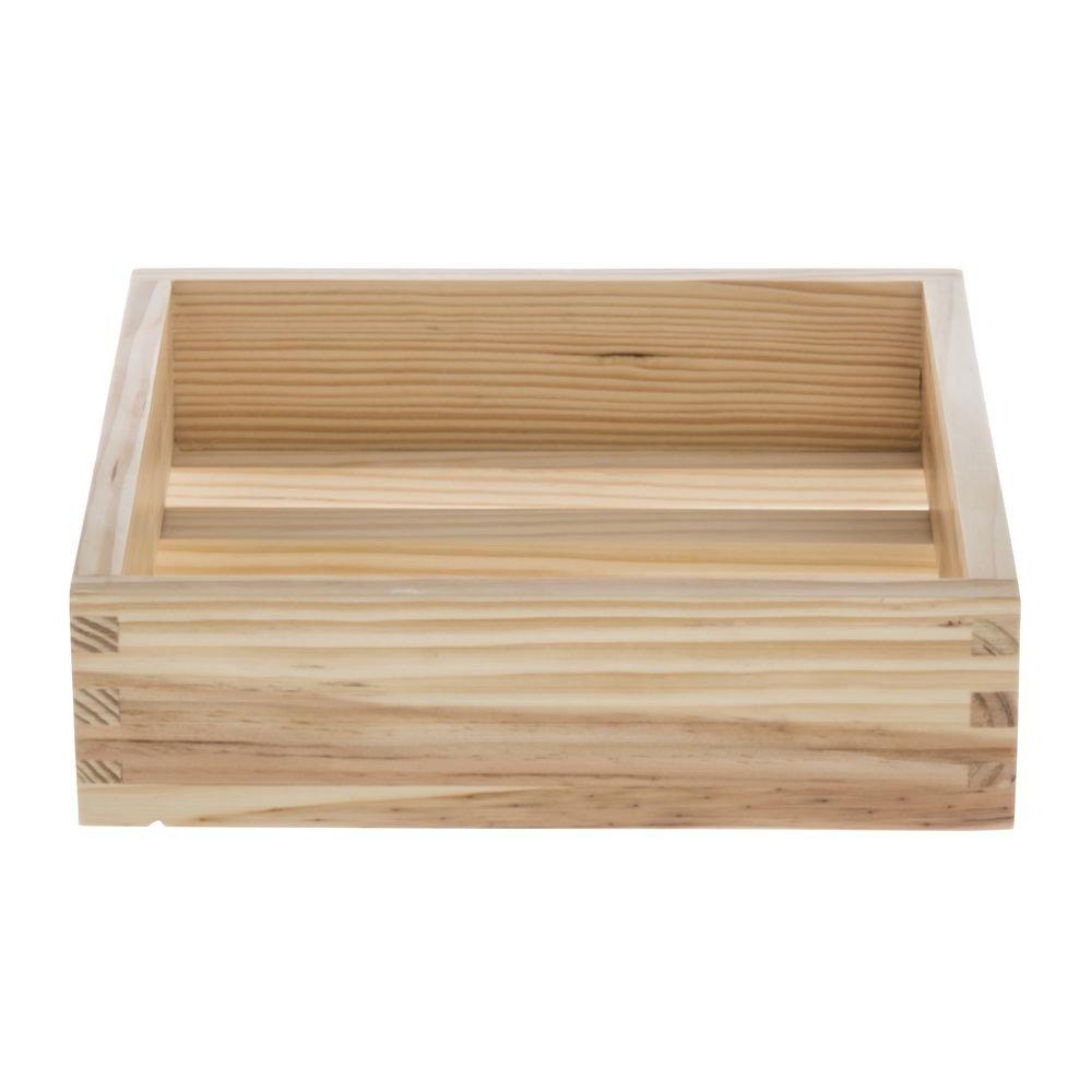 American Metalcraft Natural Wood Crate - 9'' Square x 2 1/2 H