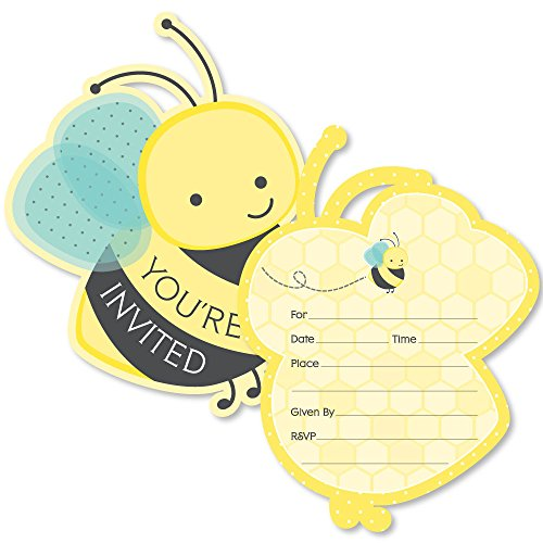 Honey Bee - Shaped Fill-in Invitations - Baby Shower or Birthday Party Invitation Cards with Envelopes - Set of 12 -
