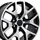 20x9 Wheel Fits GM Trucks & SUVs - Sierra 1500 Style Black Rim w/Mach'd Face, Hollander 5656
