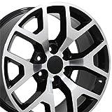 OE Wheels 20 Inch Fits Chevy Silverado Tahoe GMC Sierra Yukon Cadillac Escalade CV92 20x9 Rims Gloss Black Machined SET