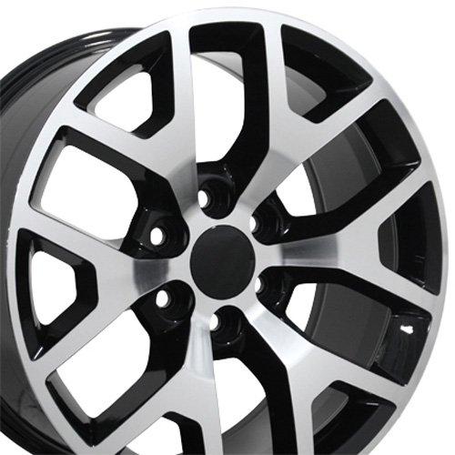 SET of 20x9 Wheels Fit GM Truck & SUV - Sierra 1500 Style Black Rims w/Mach'd Face, Hollander (2014 Escalade Rims)