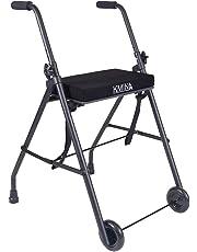 KMINA - Andador KMINA COMFORT 2 Ruedas, Andadores Ancianos, Andador con ruedas, Andador con asiento para adultos, Andador para mayores de aluminio, Andador para ancianos plegable