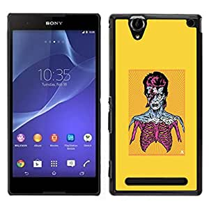 // PHONE CASE GIFT // Duro Estuche protector PC Cáscara Plástico Carcasa Funda Hard Protective Case for Sony Xperia T2 Ultra / Zombie Bowie /