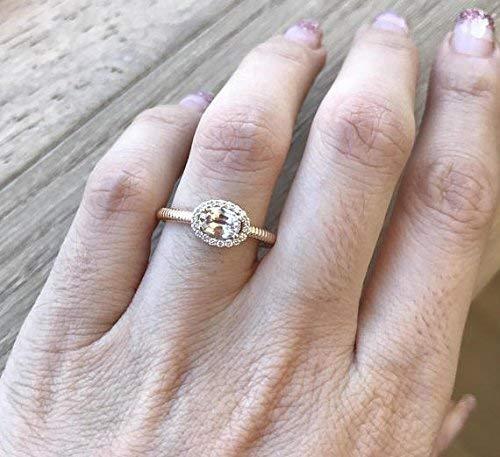 Peach Sapphire Engagement Ring- Sapphire Promise Ring- Rose Gold Engagement Ring- Halo Sapphire Alternative Ring- Unique Anniversary (Peach Sapphire)