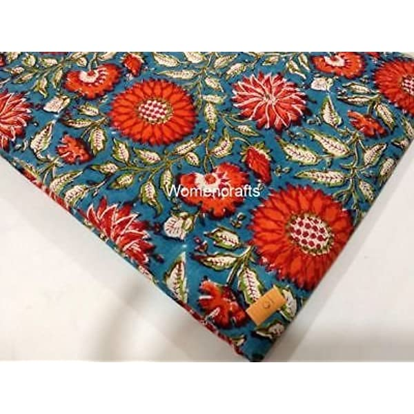 Sold By The Yard Indian Traditional Hand Block Print Cotton Natural Floral Printed Running Loose Dressmaking Fabric Indian Cotton Fabric Art