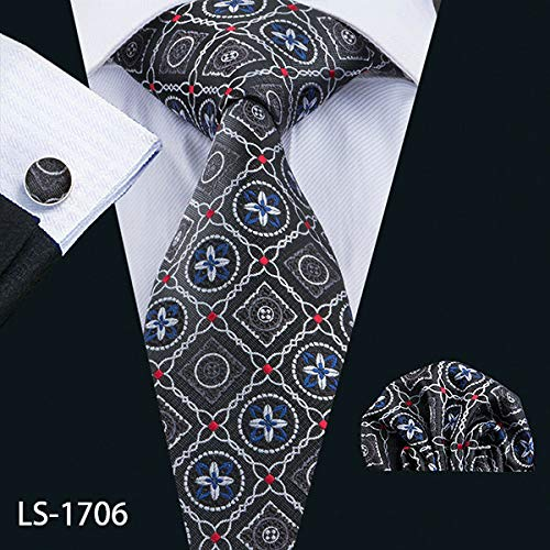 - Graven LS-1199 Mens Ties Fshion Plaid 100% Silk Barry.Wang Jacquard Woven Necktie Hanky Cufflink Set Ties for Men Formal Wedding Party - (Color: LS-1706)
