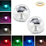 Solar Floating Lights for Pool Outdoor Color Changing Led Solar Globe Night light Lamp Ball Waterproof ABS Plastic Novel Creative Gift for Swimming Pond Garden Party Home Decor Path Landscape(2 Pack)