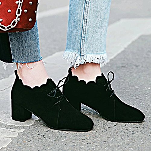 AIYOUMEI Womens Mid Block Heel Lace Up Ankle Boots Black MK0OhegJZH