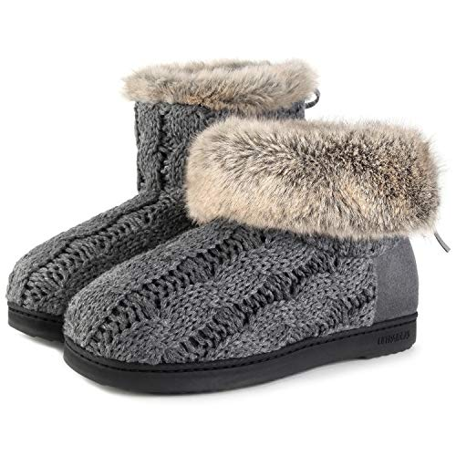 Suede Shoes Soft Bootie Lace Dark Indoor Knit w Foam Memory Yarn Gray Cable Slippers amp; Adjustable Women's Outdoor 6IdxZPqwP