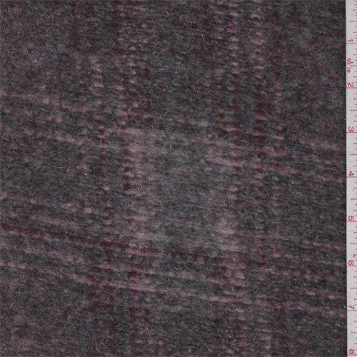 Grey/Pink/Burgundy Plaid Boiled Wool Knit, Fabric by The Yard -