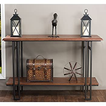 Baxton Studio Newcastle Wood and Metal Console Table  Brown. Amazon com  Baxton Studio Newcastle Wood and Metal Console Table