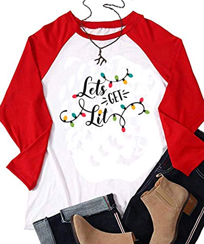 Lets Get Lit Christmas Shirt Women Lights Funny Holiday Christmas Casual T-Shirt Tops (Large, Red)