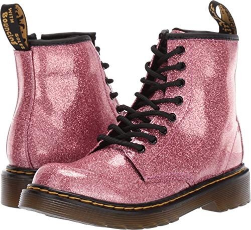 (Dr. Martens Kid's Collection Girl's 1460 Glitter Stars Delaney Boot (Little Kid/Big Kid) Pink Glitter Stars Pu 3 M)