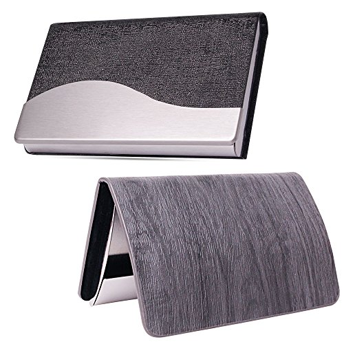 2 Pack Professional Business Card Holders, PU Leather Business Card Case with Magnetic Stainless Steel Shut for Men Women - Executive Card Holder