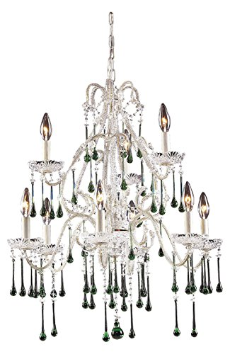 Antique White Lime Crystal - Opulence 9 Light Chandelier in Antique White and Lime Crystal